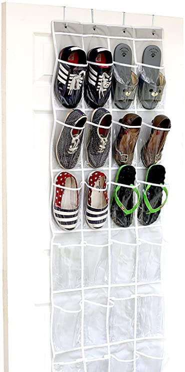 24 Pockets - SimpleHouseware Crystal Clear Over the Door Hanging Shoe Organizer, Gray (64'' x 19'') by Simple Houseware at amazon