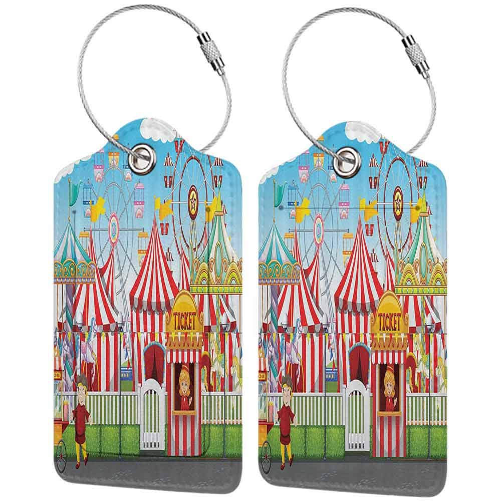 Small luggage tag Circus Decor Carnival With Many Rides And Shops llustration Landscape Cloudy Sky Quickly find the suitcase W2.7 x L4.6