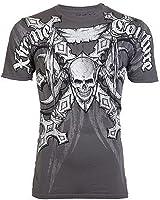Xtreme Couture AFFLICTION Men T-Shirt BATTLE-X Skull Tattoo Biker UFC