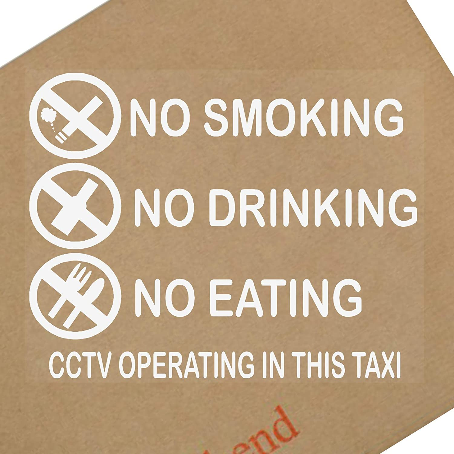 Platinum Place 2 x TAXI No Smoking, Eating, Drinking, CCTV In Operation-INTERNAL-Car, Van, Lorry, Truck, Coach Warning Sign, Window, Sticker