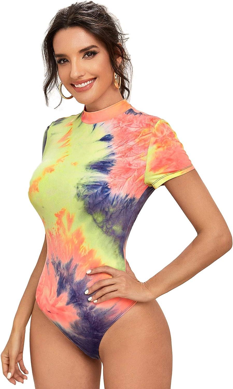Romwe Womens Mock Neck Tie Dye Short Sleeve Skinny Bodysuit Tops