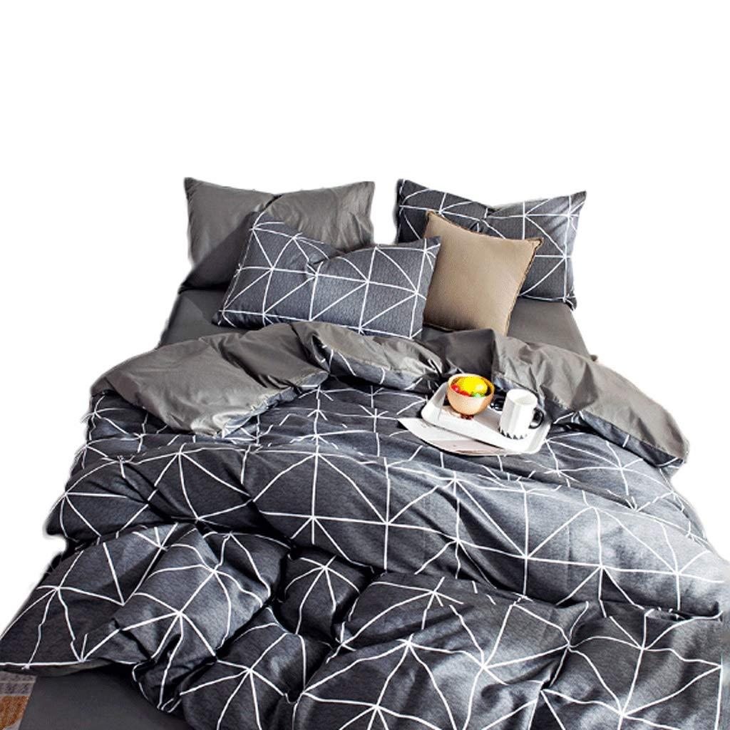 寝具4枚セット1.5Mベッド用枕カバーキルトシートフォーシーズンズユニバーサル (Color : Mushang black)  Mushang black B07HDL32SF