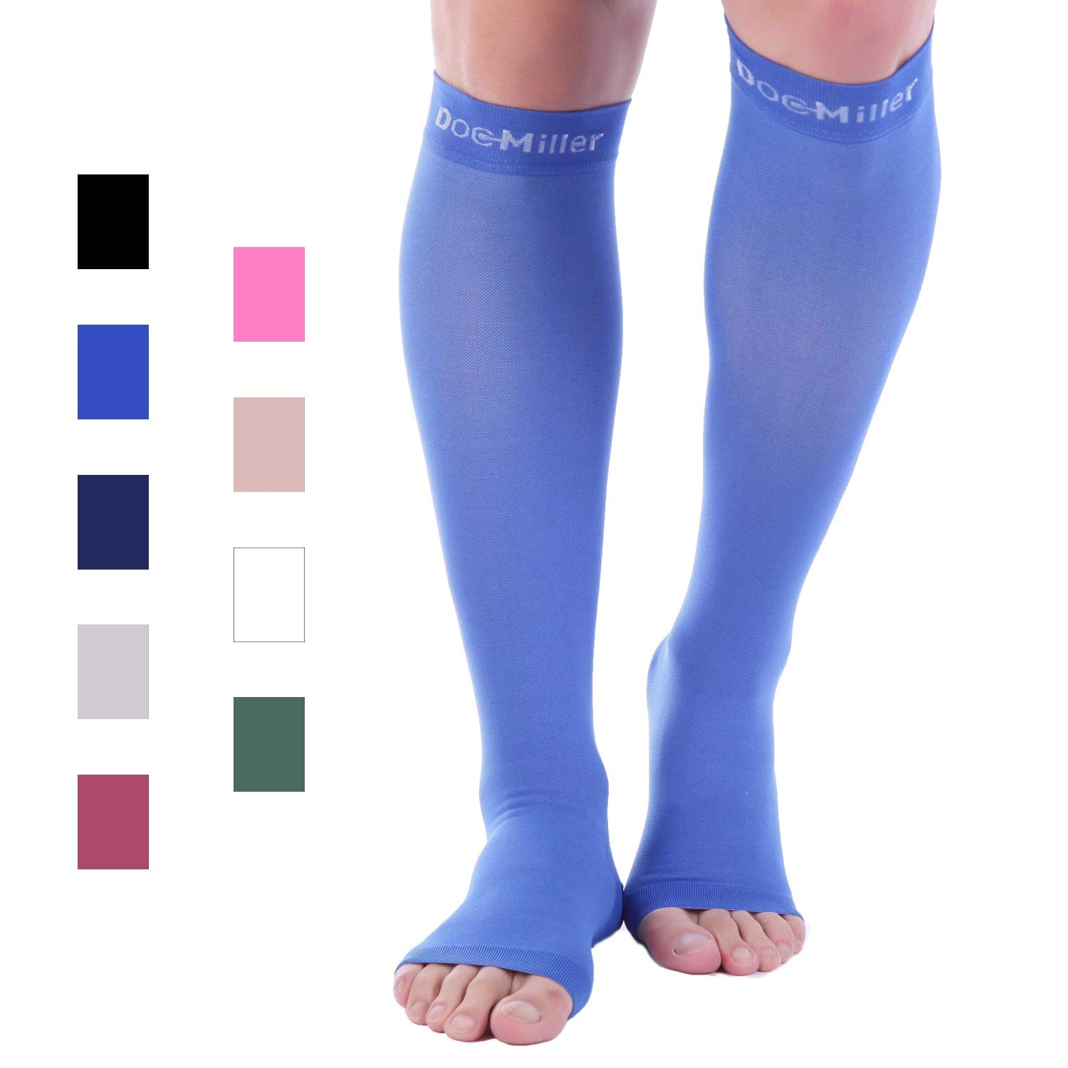 Doc Miller Premium Open Toe Compression Stockings 1 Pair 20-30mmHg Strong Support Graduated Pressure for Sports Running Muscle Recovery Shin Splints Varicose Veins (Blue, Open Toe, Small) by Doc Miller