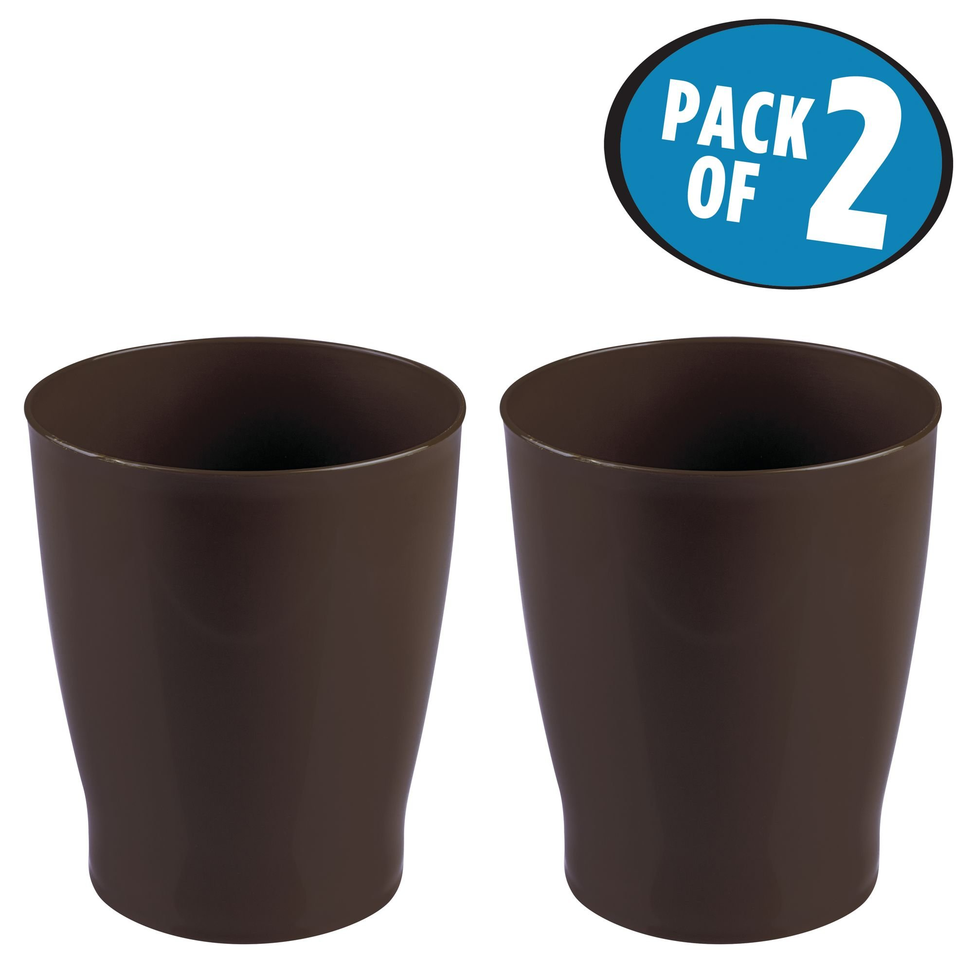 mDesign Slim Round Plastic Small Trash Can Wastebasket, Garbage Container Bin for Bathrooms, Powder Rooms, Kitchens, Home Offices, Kids Rooms - Pack of 2, Dark Brown