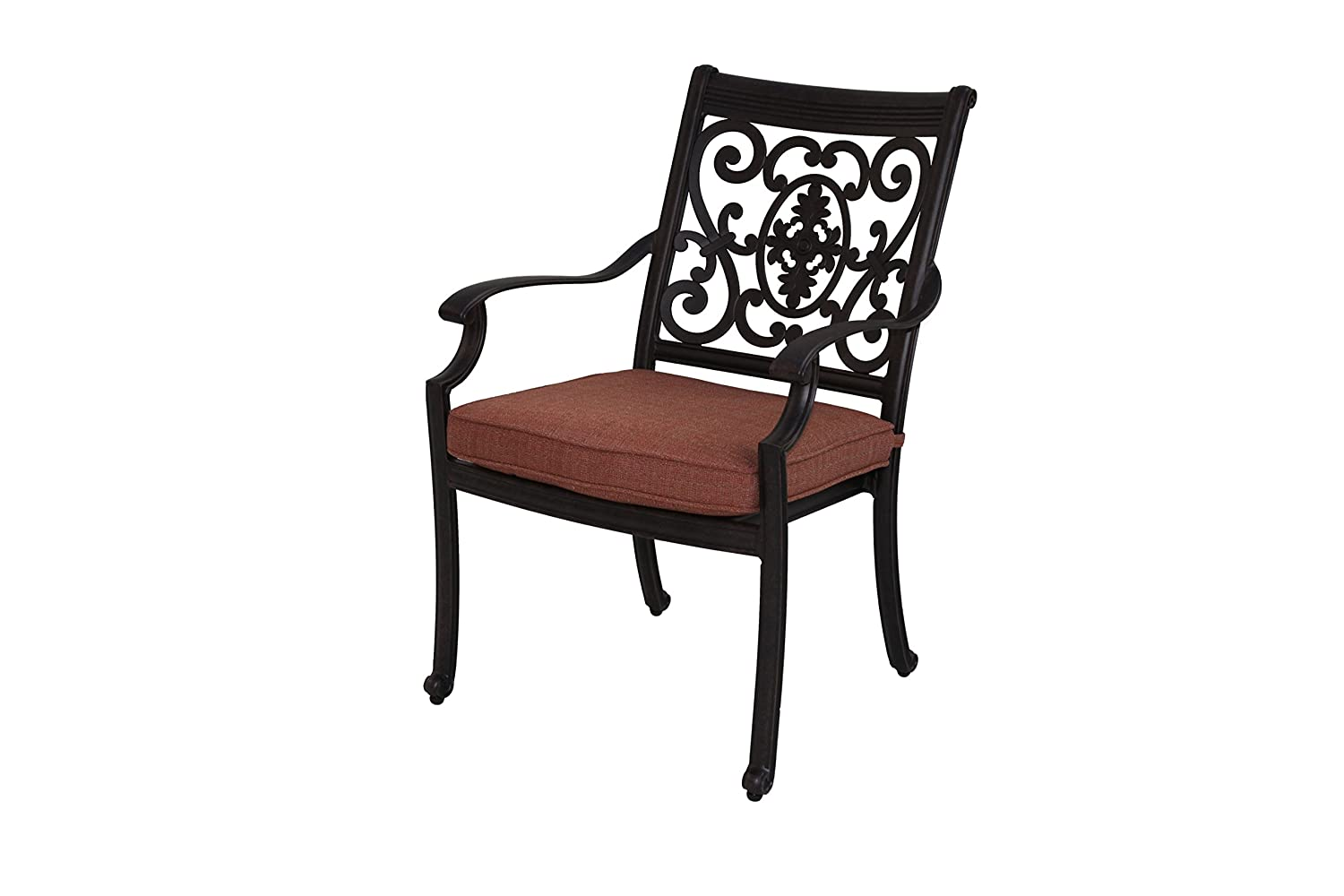 Amazon com darlee st cruz cast aluminum dining chairs with seat cushions set of four antique bronze finish garden outdoor