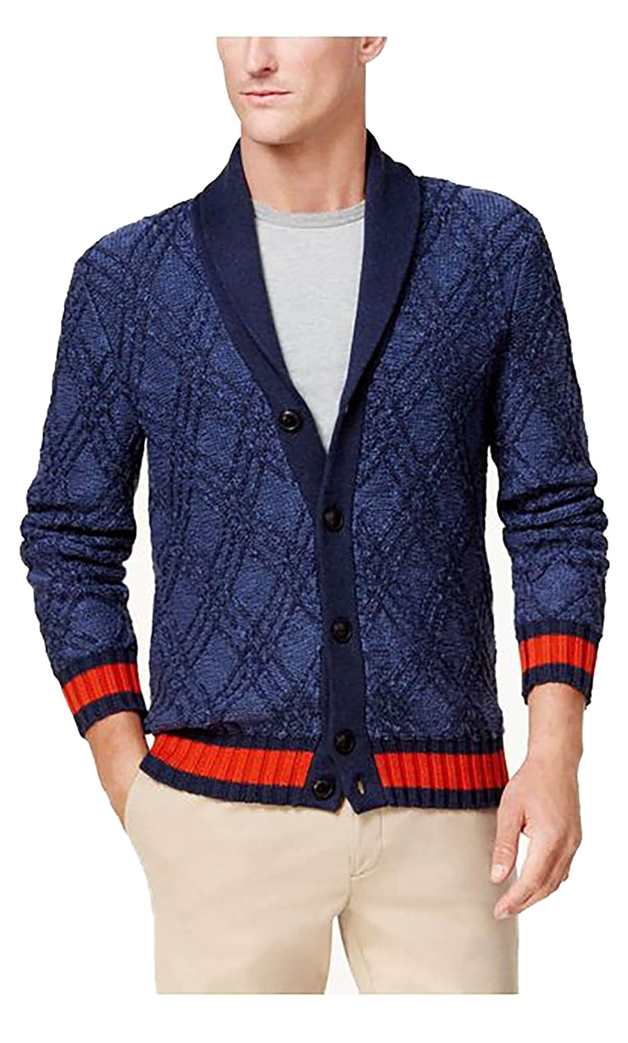 0637e1d08f4332 Tommy Hilfiger Mens Knit Cardigan Sweater Blue M at Amazon Men's Clothing  store: