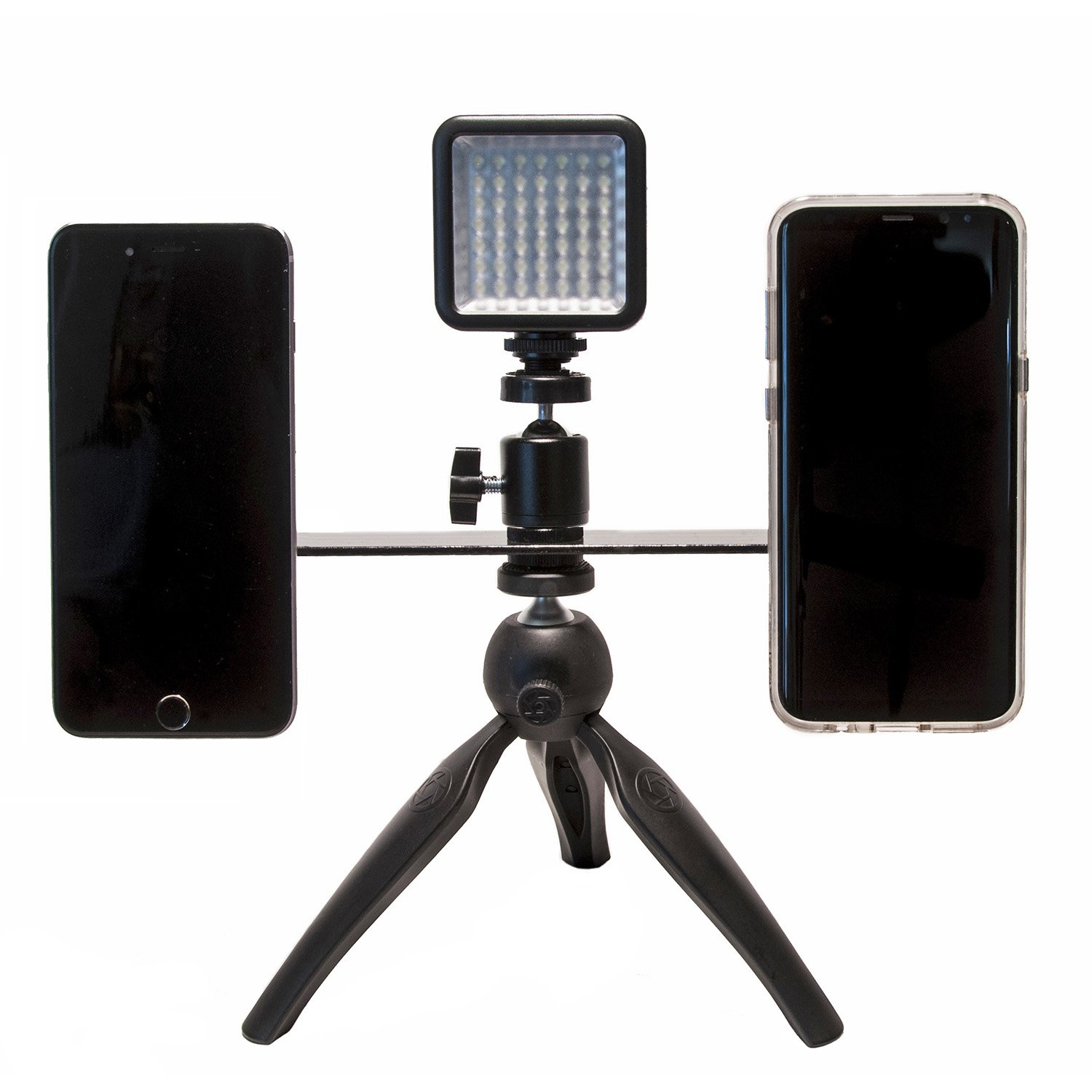 Livestream Gear - Dual Device Mounting Bar for Live Stream, 2 Magnetic Mounts Secure Any Phone. Includes 1/4''-20 Threads to Attach Tripod. (Dual Mount Tripod w/Magnets & LED Light)