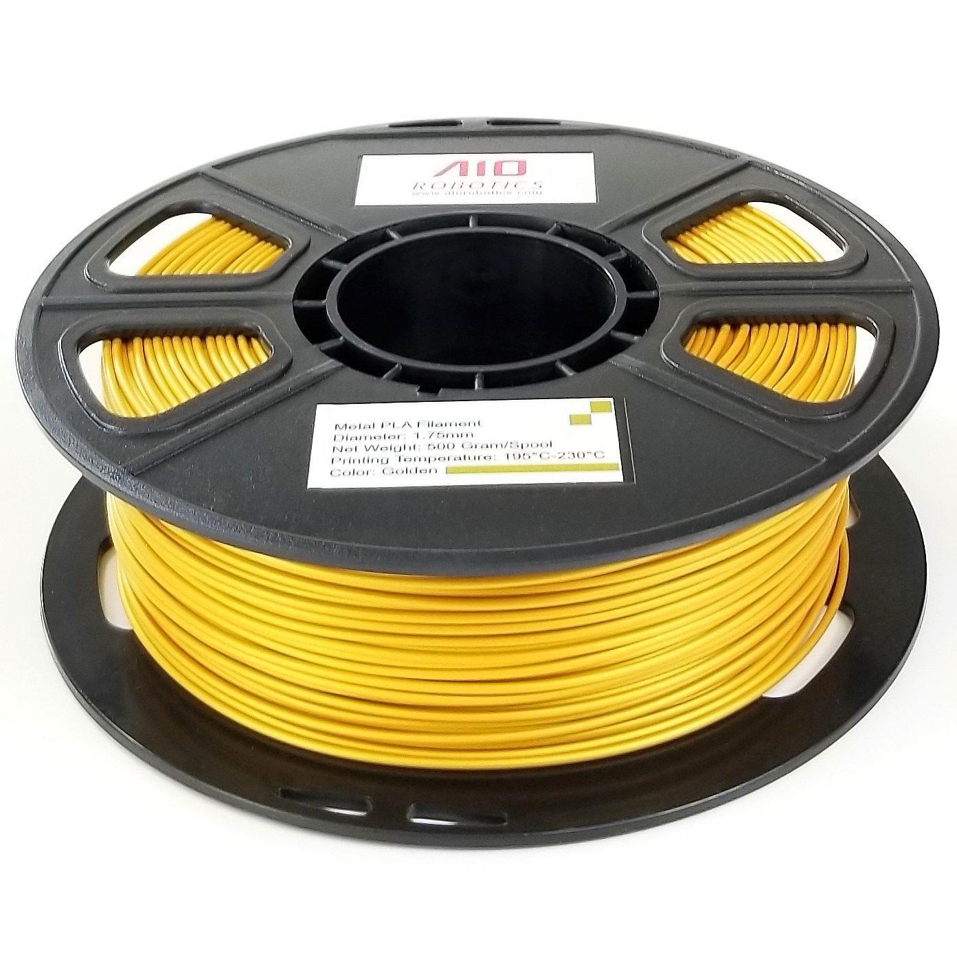 1.75 mm AIO Robotics AIOMETALGOLD PLA 3D Printer Filament 0.5 kg Spool Metal Gold Dimensional Accuracy +//- 0.02 mm
