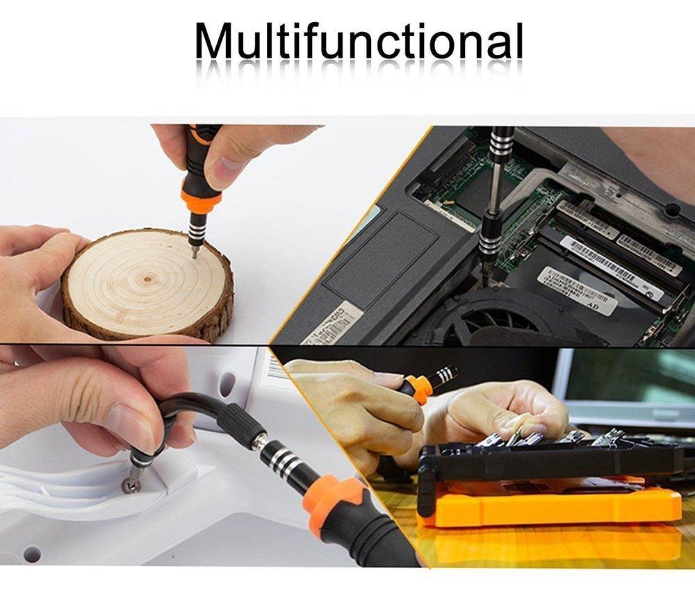 FLOUREON 33 in 1 Precision Screwdriver Set Mini Screwdriver Magnetic Repair Tool Kit of Torx/Flat/Hex/Phillips/Pentalobe/Nut Drivers Electronics Repair Kits for iPhone, iPad, Laptop, Watches and More