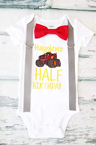 624f4aefd Image Unavailable. Image not available for. Color: Boy 6 Months birthday  Outfit half ...