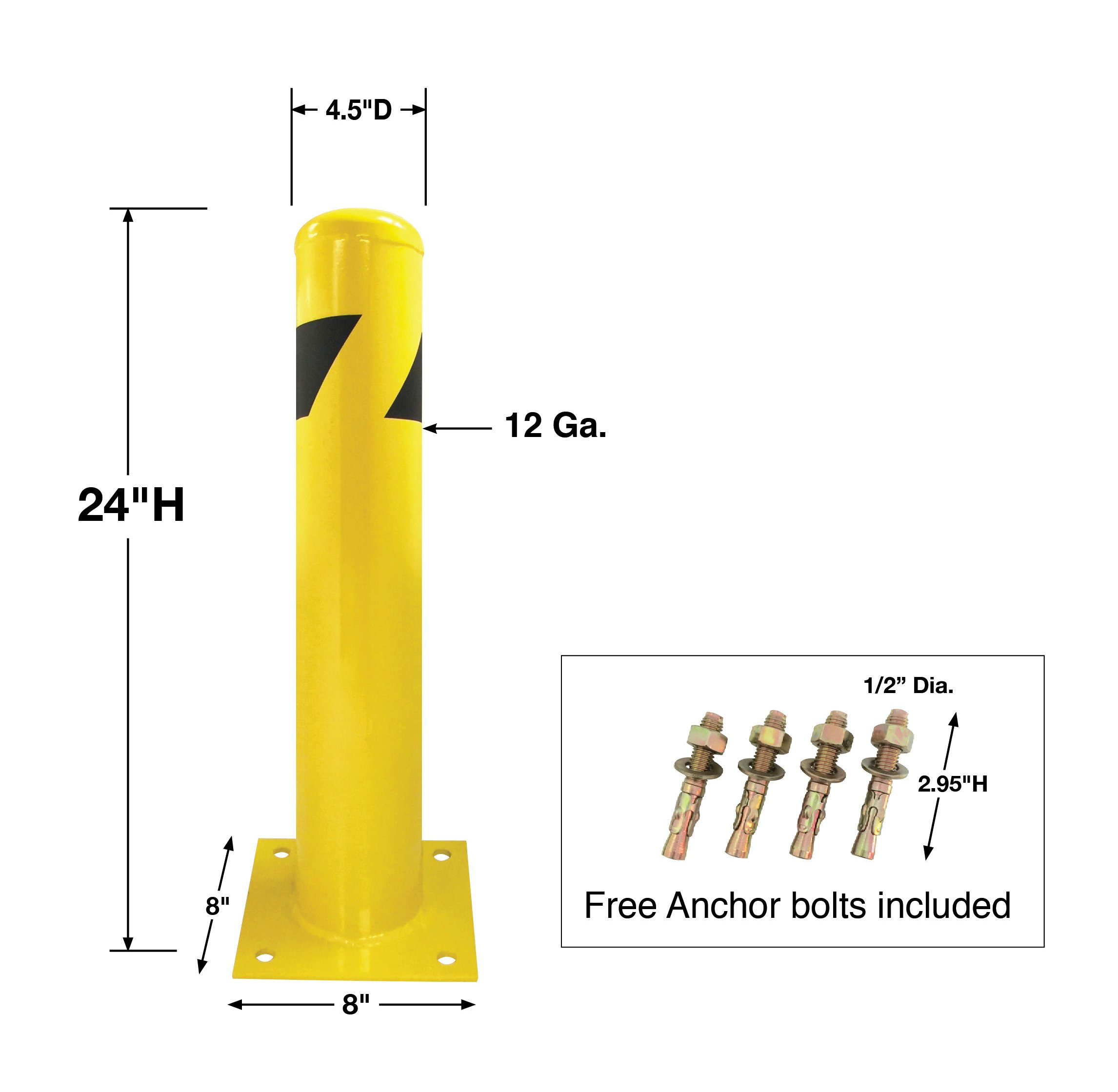 8 NET Yellow Signs Pipe Safety Bollard Post Steel Barrier 24'' Height, 4.5'' Diam 12Ga w/ 8'' Mounting Plate Base