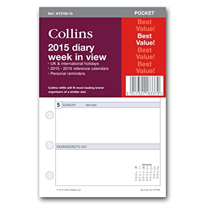 Collins 2015 - Hojas de recambio para agenda de bolsillo ...