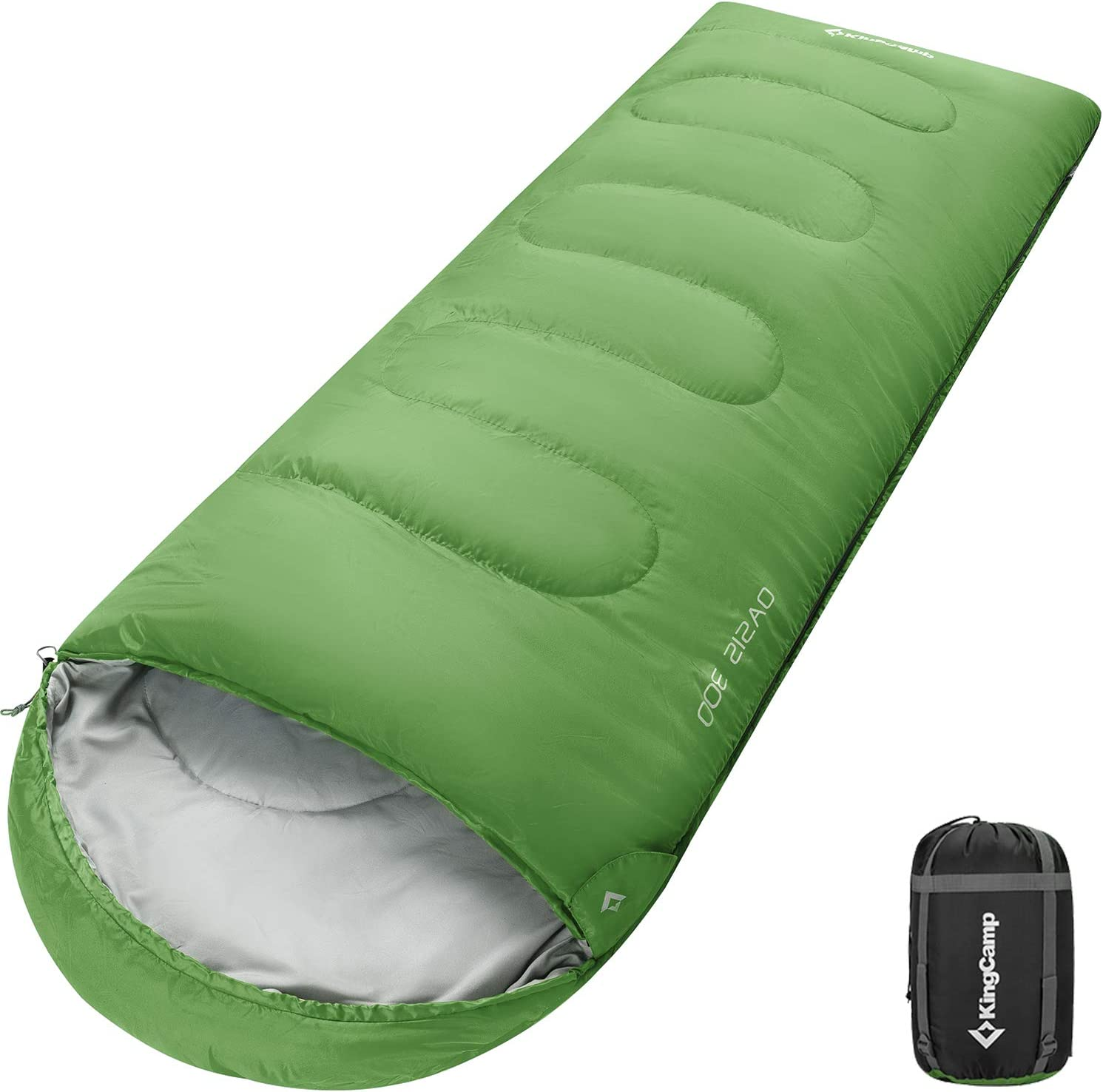 KingCamp Saco de Dormir Ultraligero Rectangular Grande Individual para Adultos Camping Monta/ña Port/átil Bolsa de Compresi/ón Verano