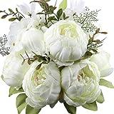 Amkun - Bouquet vintage di peonie artificiali in seta, ornamento per casa e matrimoni, confezione da 1 White