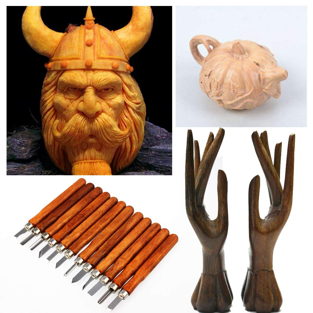 Poualss 12 Pieces Wood Carving Tools Knife Kits with 3 Pieces Whetstones and 1 Piece Brush for DIY Beginners and Experienced Carvers for Wood, Pumpkin, Soap, Rubber, Handmade Crafting