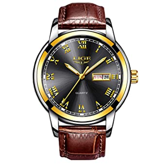 d9c88733b Mens Black Watches Waterproof 30M Date Calendar Wrist Watch for Men  Teenager Boys,Leather Band