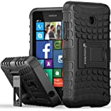 Fosmon® Nokia Lumia 635 Case (HYBO-RAGGED) Dual Layer Protection Heavy Duty Hybrid Case Cover with Built In Stand for Windows Phone 8.1 Nokia Lumia 635 - Fosmon Retail Packaging (Black)