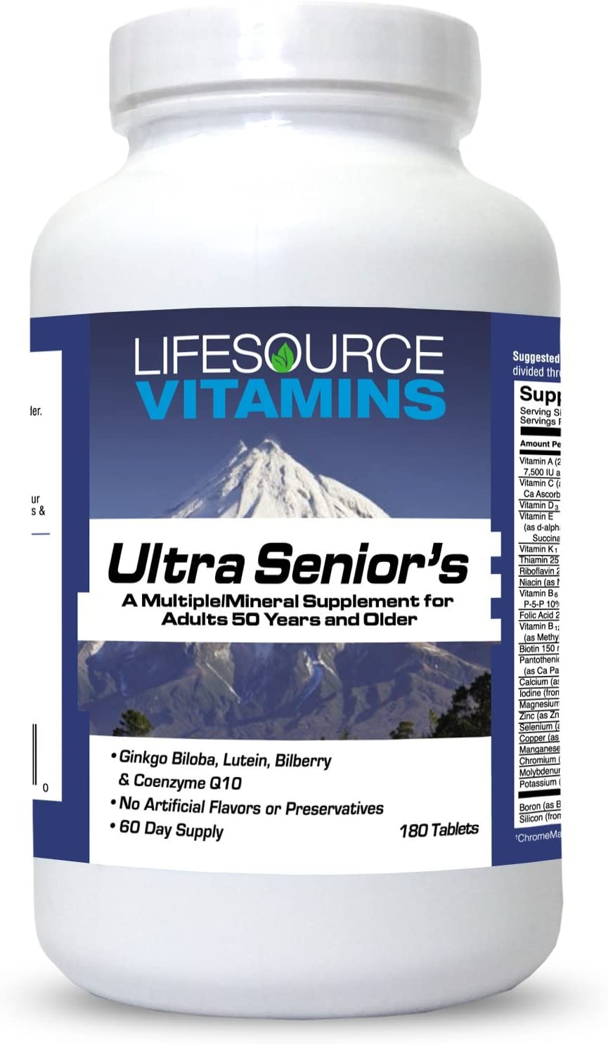 LifeSource Ultra Senior Multi Vitamin & Mineral - 60 Ingredients Synergistically Blended for Seniors - Men and Women - 180 Tabs -
