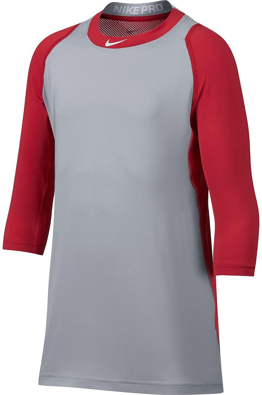 Nike Boys ' PRO COOL ¾ -sleeve野球シャツ B077LSMK2Tレッド/グレー Medium