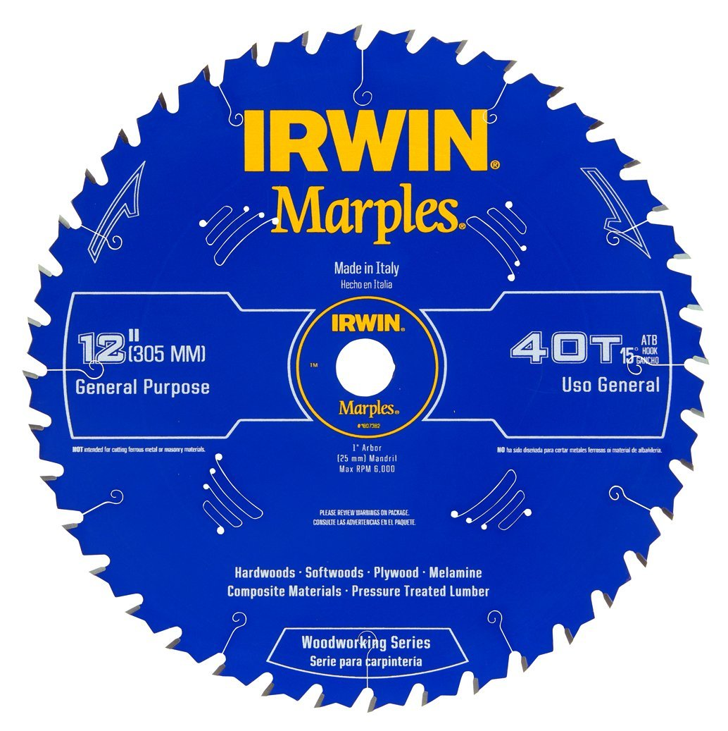Irwin Tools  1807382 Marples Laser Cut 12-Inch 40-Tooth Alternate Tooth Bevel Circular Saw Blade by IRWIN