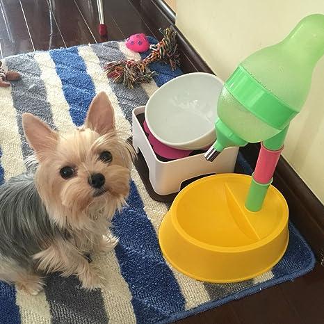 Love pets Hervidor para Perro, dispensador automático de Agua para un Solo Asiento para Mascotas, alimentador Vertical de bambú, tazón Grande Ajustable para ...