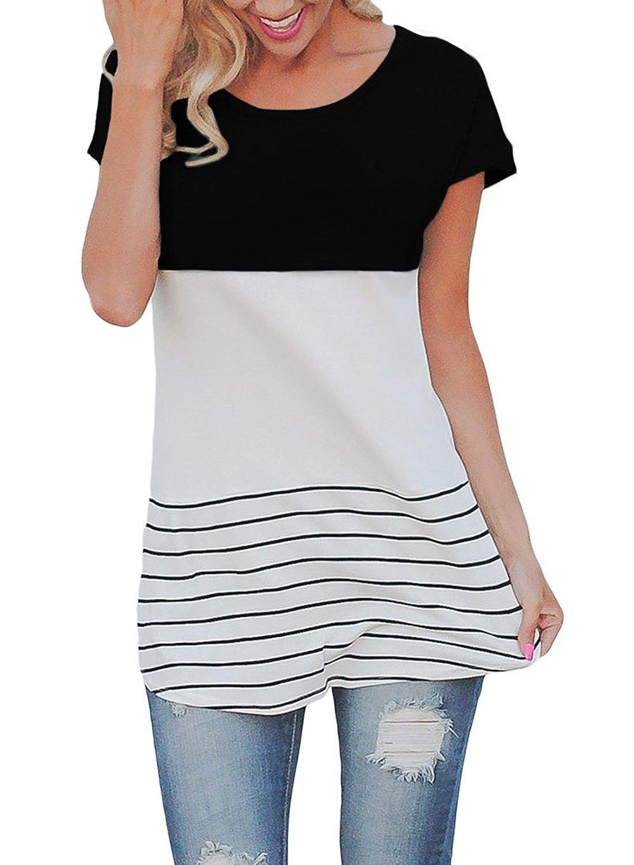 Ssowun Fletion camisetas mujer manga corta de rayas de cuello redondo
