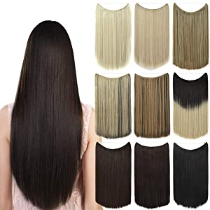 EMERLY Ombre Secret Hair Extensions 20 inch One Piece Transparent Headband Hairpieces Straight Highlight Invisible Flip in Hair Extensions Dark Black