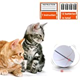 Interactive Cat Toys Automatic Ball - Best Cat Rolling Balls Motion Activated Funny Toy for Cats Dogs Small Pets Including LED Light and 12 Batteries, White