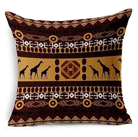 GT Lino y Algodón africano estilo étnico rayas manta de impresión funda de almohada cojín 18 x 18 pulgadas