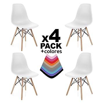 Duehome Pack 4 SILLAS Comedor Blanco, Polipropileno y Madera ...
