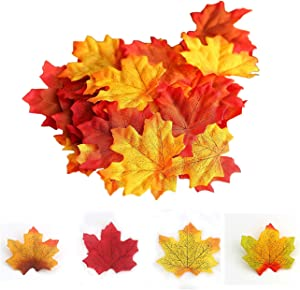"""Tinsow 200 Pcs 4 Colors Assorted Artifical Silk Autumn Maple Leaves Bulk Artificial Fall Leaf Foliage 3.15"""" L X 3.15"""" W for Thanksgiving Table Door Fall Wedding Party Birthday Baby Shower Decorations"""