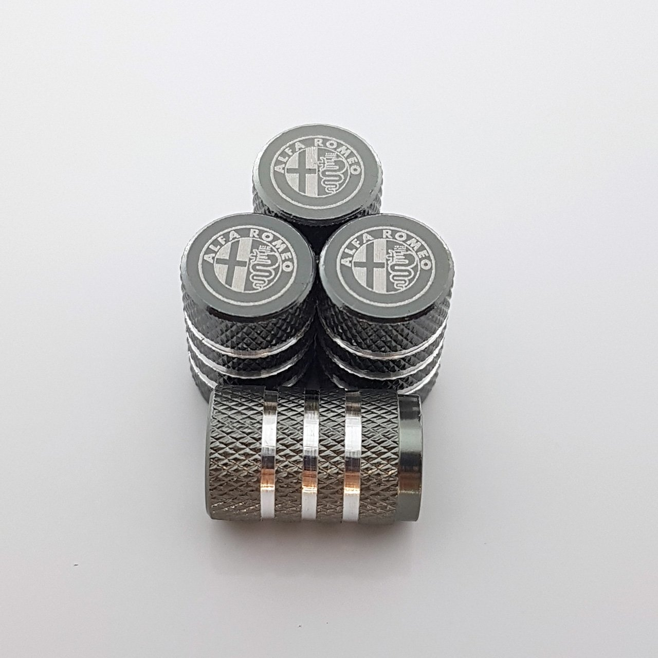 Speed Demons ALFA ROMEO gris alliage pneu valve bouchons de protection pour tous les modèles laser gravé on sale