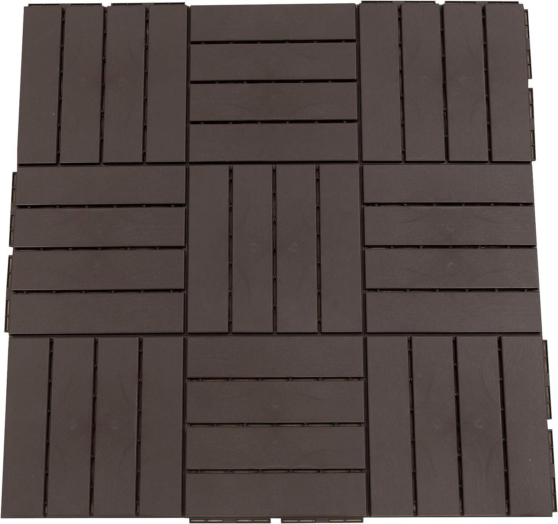 Outsunny Baldosas Cuadradas para Suelos de Exterior 30x30cm Paquete de 9 Piezas para 0.81 m² Marrón