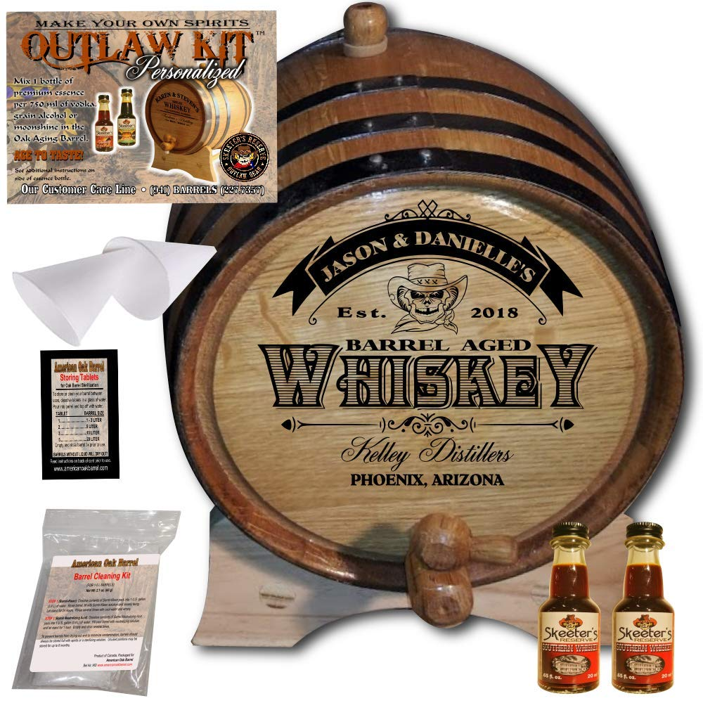 Personalized Whiskey Making Kit (103) - Create Your Own Southern Whiskey - The Outlaw Kit from Skeeter's Reserve Outlaw Gear - MADE BY American Oak Barrel - (Oak, Black Hoops, 2 Liter)