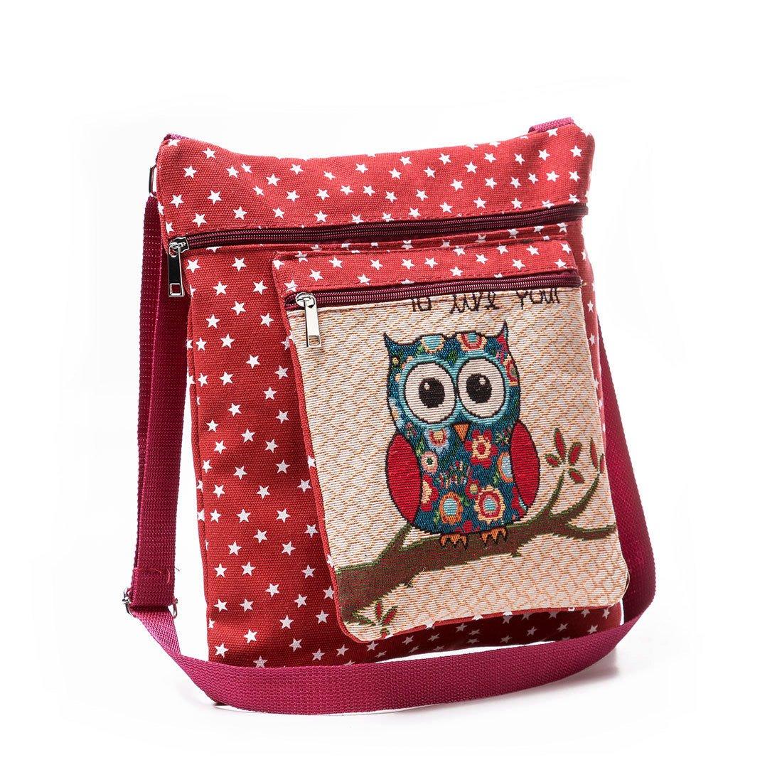 2-layers Satchel Bag, Cute Owl Embroidery Canvas Bag Crossbody Shoulder Bag for Women
