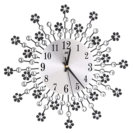 Whitelotous -Metal Inlaid Diamond Flower Design -Battery Clock- Non-Ticking Digital Decorative
