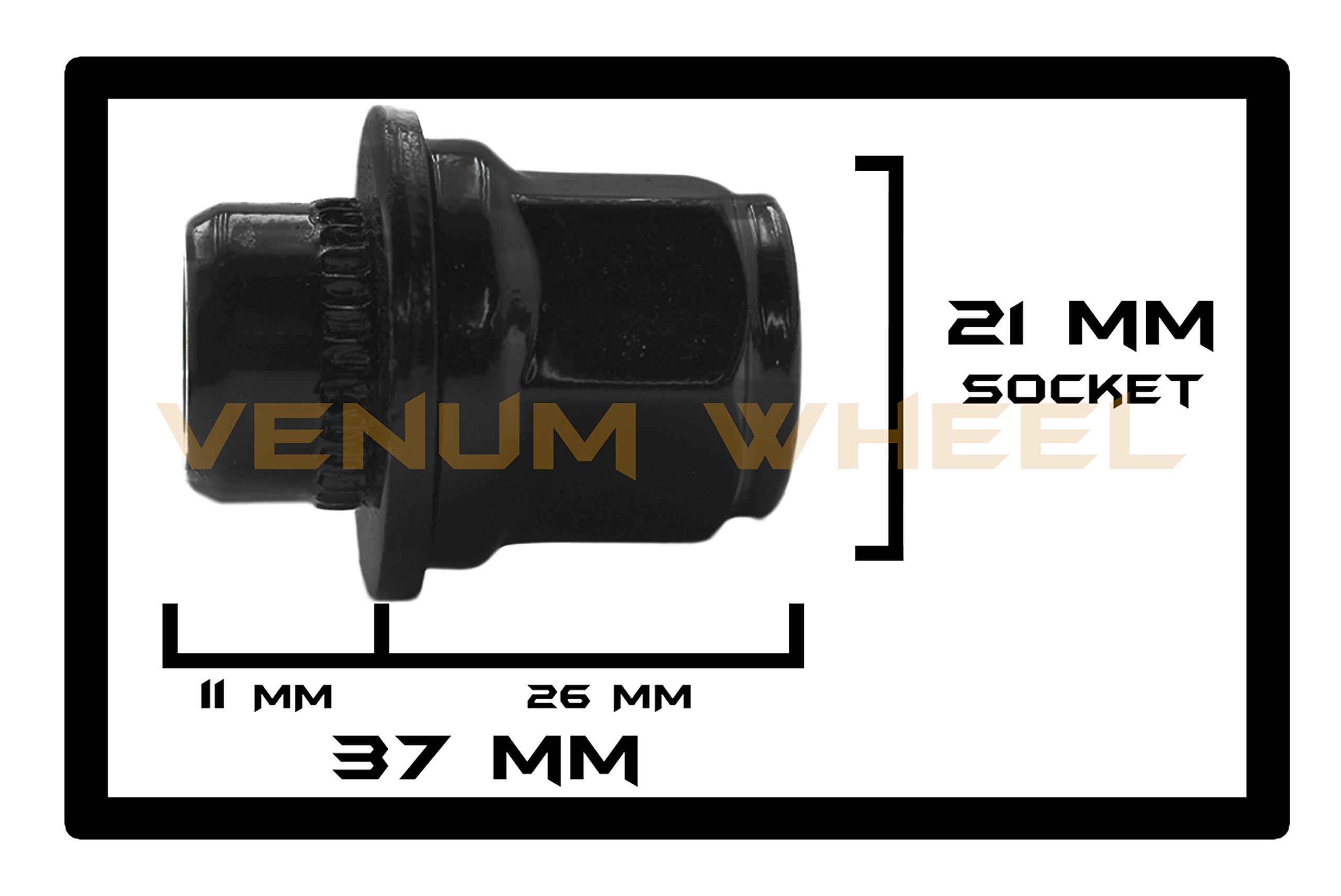 24 Pc Black Toyota Tacoma Tundra Fj Cruiser Oem Mag Seat Lug Nuts 12x1.5 1.45'' Tall 6 Lug by Venum wheel accessories (Image #2)