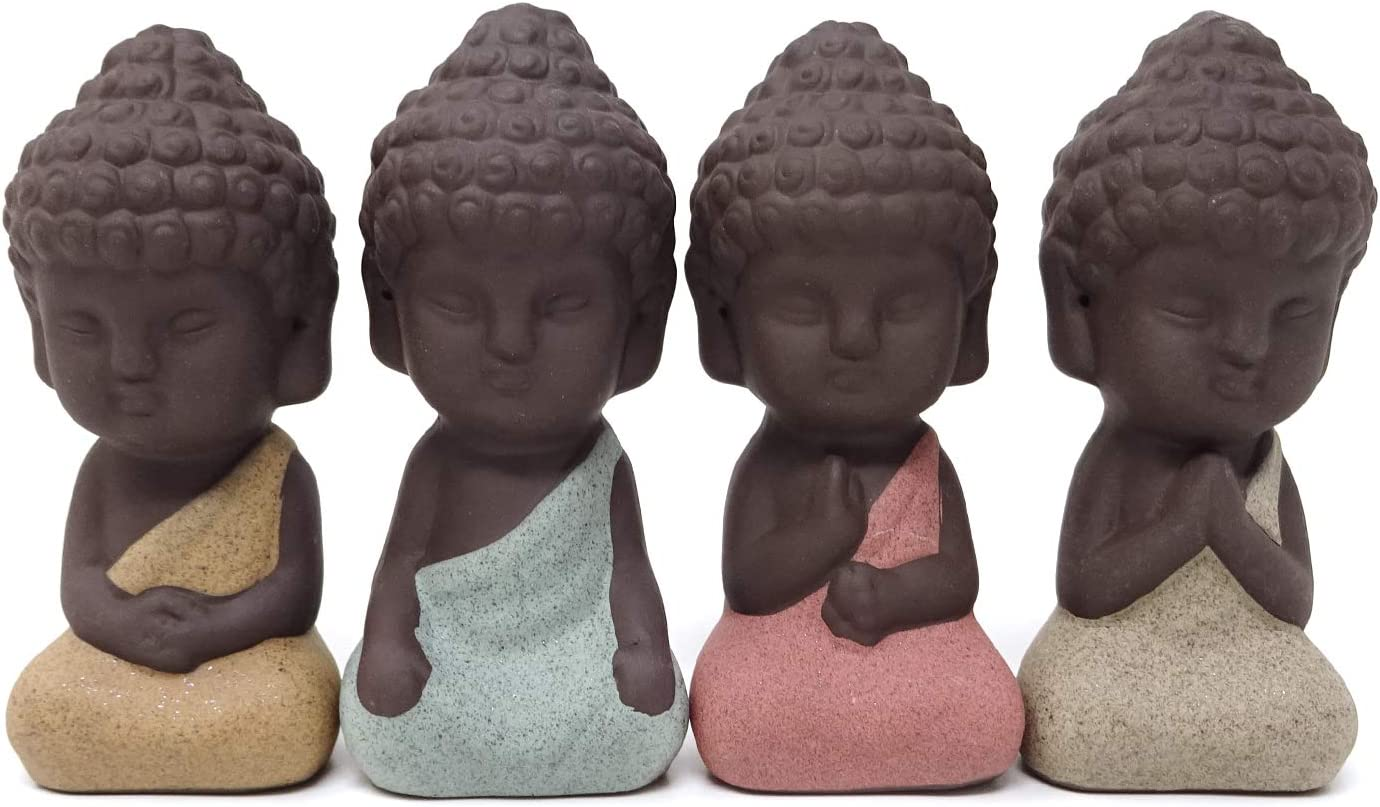 HONBAY 4PCS Cute Small Ceramic Buddha Statues Monk Figurines Sculptures for Outdoor Home Decoration