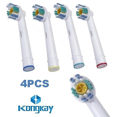 """KongKay® 4 X """"3D white"""" Recambio para Cepillo eléctrico Compatible y en forma"""