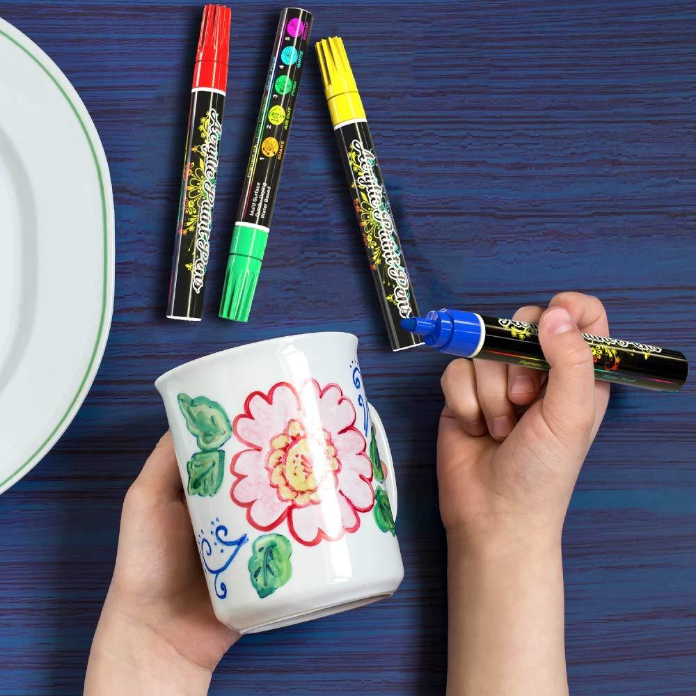 Porzellan 100/% nat/ürlich auf Wasserbasis 12pc Art Acrylstifte f/ür Steine Tassen Keramik Glass Steinchen Holz Desire Deluxe Acryl Farben Wasserfester Stifte Set