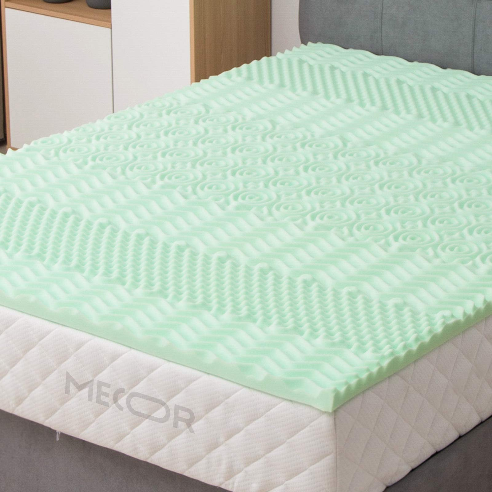 LAGRIMA 2-inch 2in Mattress Topper, 7-Zone Queen Size Memory Foam Mattress Topper, CertiPUR-US Certified,Green Tea with Pattern by LAGRIMA
