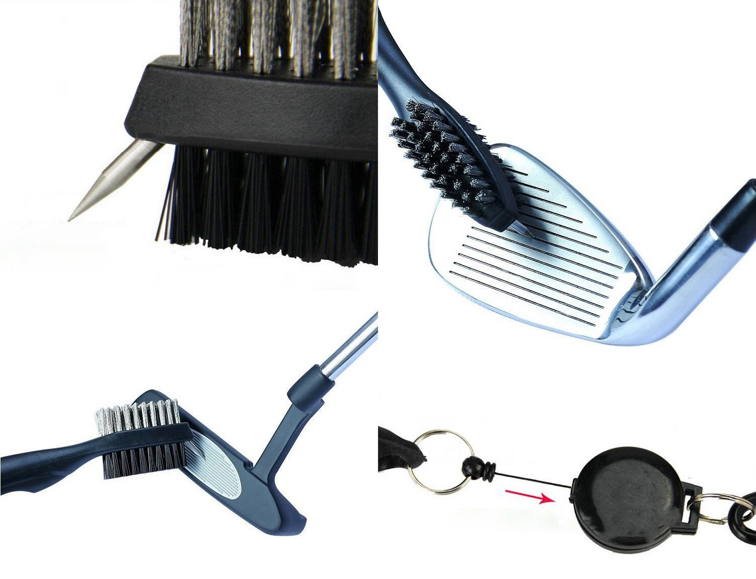 Xintan Tiger Golf Tool Set -Retractable Golf Club Brush and 6 Heads Golf Club Groove Sharpener.Perfect Gift for Golfers-Practical Sharp and Clean Kits For All Golf Irons by Xintan Tiger (Image #4)