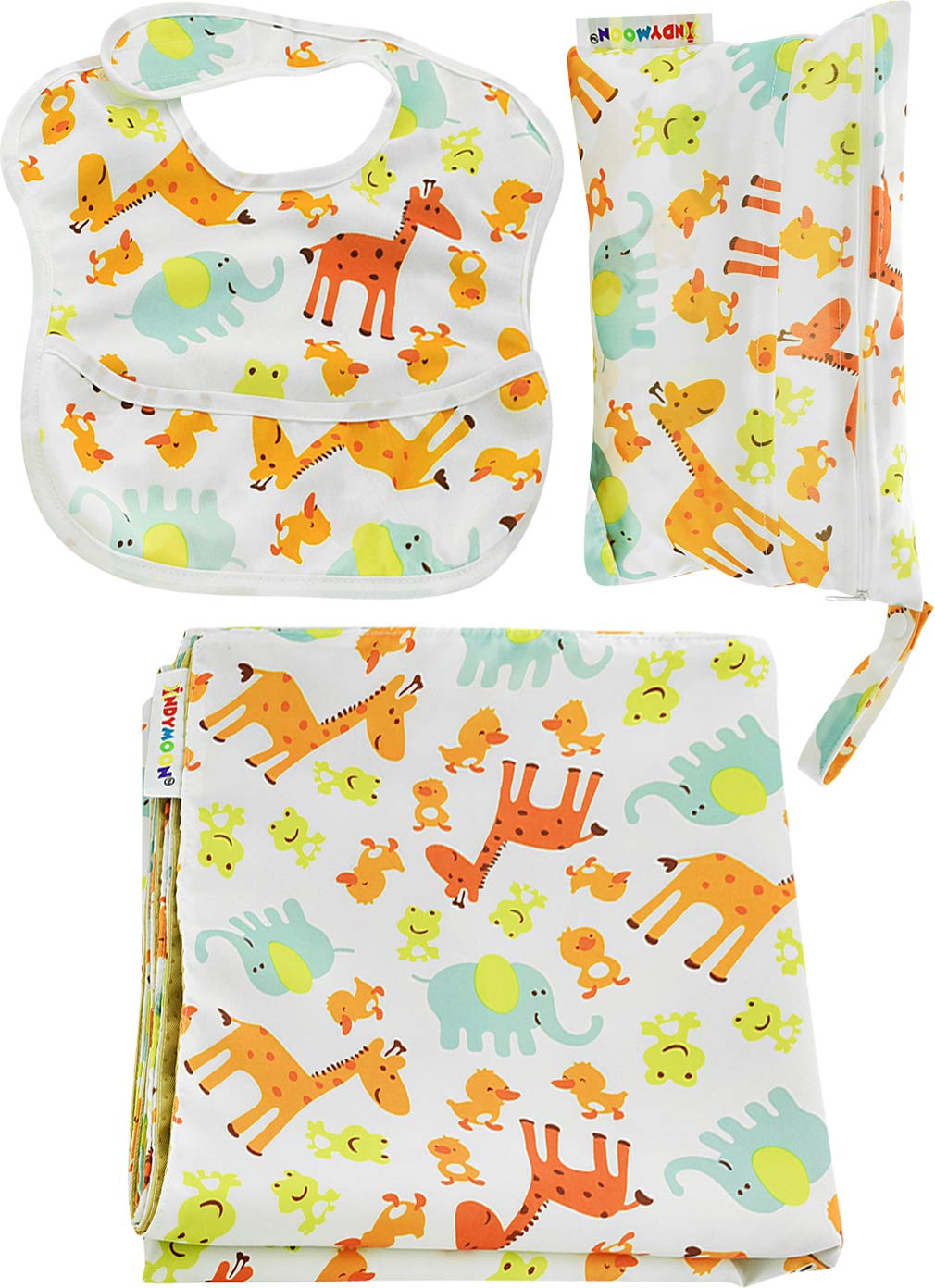 3pc. Splat Mat Set with Bib and Wet/Dry Bag  for Under High Chair  Splats  Arts & Crafts  Playtime. Large 51 Anti- Slip Mat, Machine Washable, Waterproof & Stain Resistant by IndyMoon GCI Creations