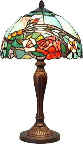 Bieye L10737 Rose Flower Tiffany Style Stained Glass Table Lamp