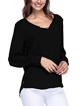 Spicy Sandia Blouses For Women V Neck Loose Top Shirt With Cuffed
