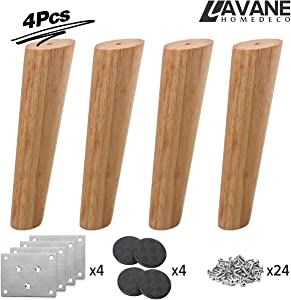 14 inch / 35cm Wooden Furniture Legs, La Vane Set of 4 Solid Wood Oblique Tapered Furniture Replacement Feet with Mounting Plate & Screws for Sofa TV Cabinet Bed Dining Table