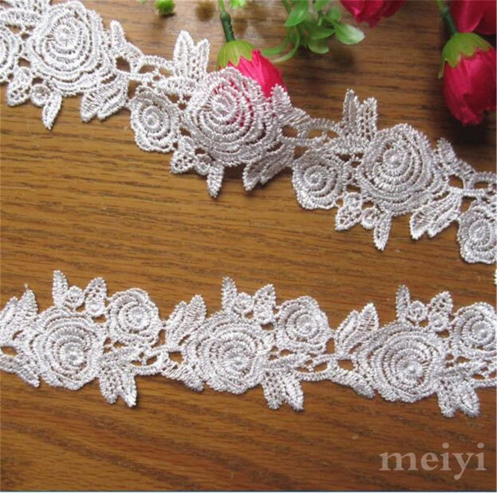 3 Yard Rose Flower Polyester Silk Lace Edge Trim Ribbon 2 Width Vintage Style White Edging Trimmings Fabric Embroidered Applique Sewing Craft Wedding Bridal Dress Embellishment Clothes Embroidery DIY