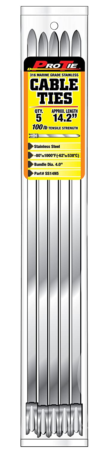 100 Pound Tensile Strength 25-Pack, Pro Tie SS26N25 26-Inch Narrow Stainless Steel Cable Ties
