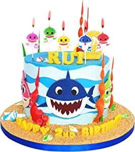 Cute Baby Shark Birthday Candles – Baby Shark Party Supplies, Cute Baby Shark Cake Decorations for Kids, Perfect for Birthday Party, Children Carnival Party and Baby Shower - Set of 5