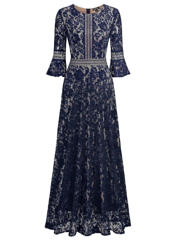MissMay Women\'s Vintage Full Lace Contrast Bell Sleeve Formal Long ...